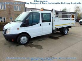 2012 62 FORD TRANSIT LWB, 125-BHP, DROPSIDE, PICK UP, CREW CAB, AIRCON, F.S.H.