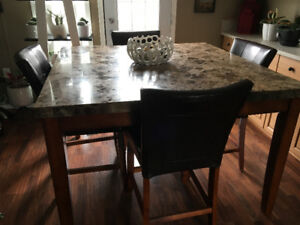 Marble Table & 4 Chairs