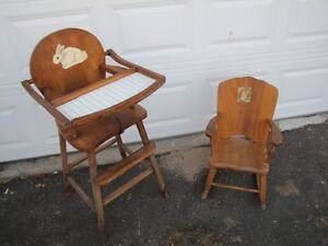 Antique High Chair and Child's Rocker