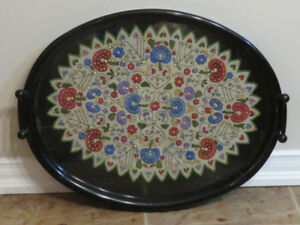 Serving Tray with Hungarian Hand Embroidery under glass