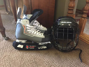 Boys Size 6 Easton Skates and Bauer Helmet with Cage Mask