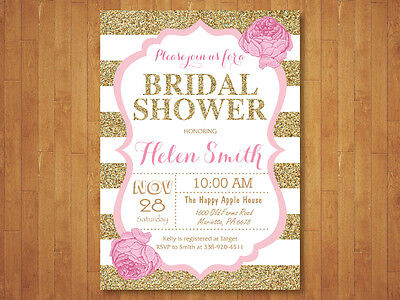 Pink and Gold Bridal Shower Invitation. Girl Floral Flower. Printable - Pink And Gold Bridal Shower Invitations