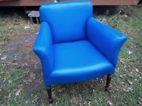 2 blue vinyl retro chairs