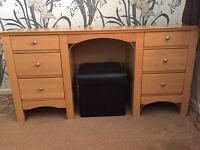 Beech dressing table with storage stool