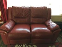 Red berry sofa recliner two seater