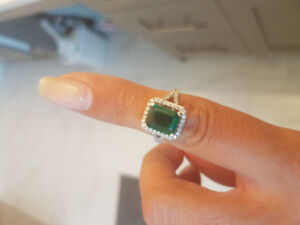 Created emerald ring from Michael Hill. Upgraded diamonds .