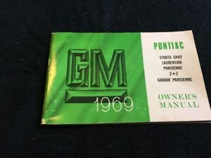 1969 Pontiac GM owners manual Strato chief Laurentian Parisienne