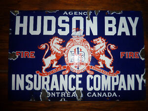 Antique Hudson's Bay Insurance Company Enamel Sign - 1910