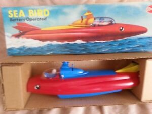 Vintage Sea-Bird,Space Age Battery operated boat,1980s,CIB