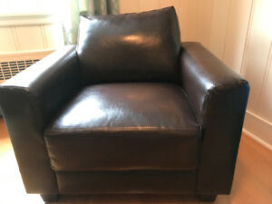 Two  Lovely Brown Leather Club Chairs