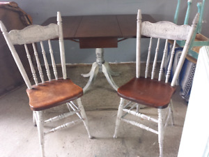 Antique dining table and 2 press back chairs