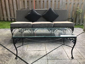 Wrought Iron Furniture - 13 pieces, with custom cushions