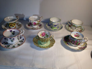 7- English Bone China Tea Cups and Saucers