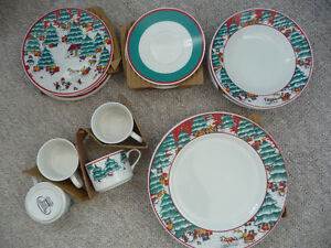 Brand New Christmas China - Service For Four