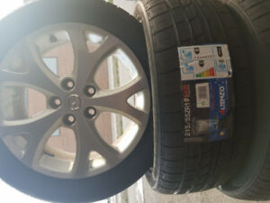 215/55/17 New sport tires with used rims-$600