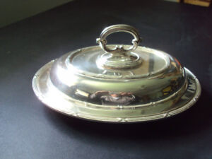 Vintage 3 piece Oval Lidded Birks Silver Serving Dish with cover