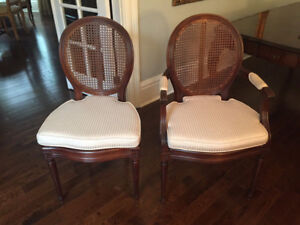 Pair of French Louis XVI oval back cane chairs