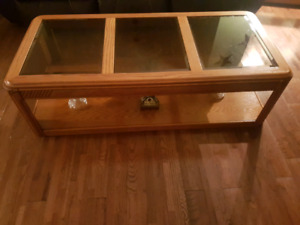 Oak and glass coffee table and 2 end tables