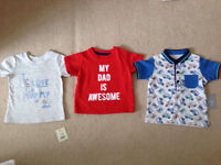 Three tee shirts in exc cond age 3-6 months