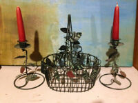 CANDLES , CANDLE HOLDERS, AND WIRE BASKET