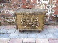 Old Antique Brass Plated Wooden Coal Box - CAN DELIVER