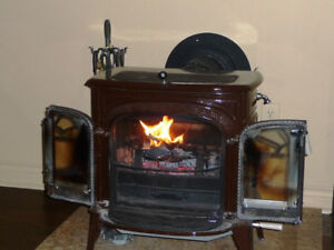 Vermont Castings Wood Stove, Stack & marble base