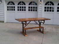 KITCHEN ISLAND/TABLE WITH CAST IRON LEGS by WHITE BARN FURNITURE
