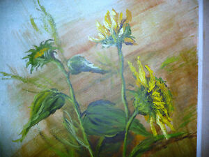 "Garden Study by O. J. Coghlin ""Sunflowers"" Original Oil Painting Stratford Kitchener Area image 3"