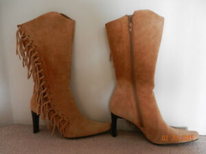 TAN SUEDE FRINGE BOOTS FOR SALE