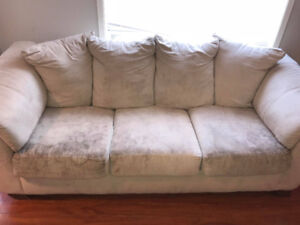 Couch For Sale - Off-White - Microfiber - $300 OBO