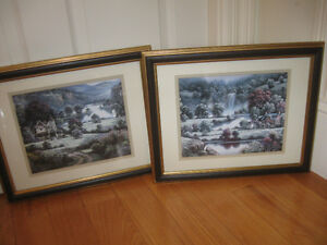 PROFESSIONALLY FRAMED & MATTED PAIR PRINTS / D. RAOS