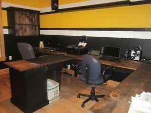 L-shaped desk, filing cabinet, shelves