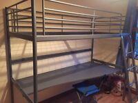 Loft bed frame with desktop