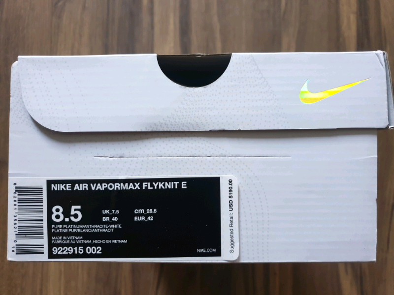 51ec75a06e4fd Nike Air Vapormax Flyknit heritage pack US8.5 922915 002 BNWT ...