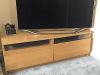 Oak effect tv stand with 2 drawers