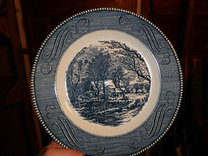 """Set of 9 Plates - Currier & Ives """"Old Grist Mill"""" by Royal."""