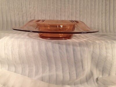 "Vin. Fostoria Pink Depression Glass 12""Rolled Bowl - Fairfax"
