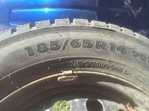 185/65 R14 Studded Winter Tires on Steel Rims