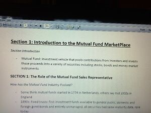 IFIC/IFC (Investment funds in Canada) Chapter/Exam study notes Edmonton Edmonton Area image 1