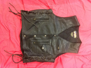 Leather riding vests and pants