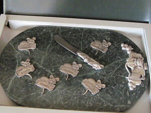 Heavy Green Marble + Pewter Cheese Tray, 6 Signs, Knife in Box Oakville / Halton Region Toronto (GTA) image 1