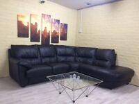 Pristine Black Leather Corner Sofa
