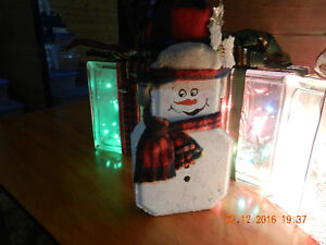 Christmas glass block lights and handcrafted dressed up Snowman