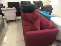 Brand New Designer Red Velour Fabric 2 Seater Sofabed