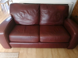 Leather sofa, 2 seater and chair