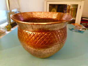 HAND HAMMERED COPPER POT for PLANTS, FIRESIDE KINDLING ETC.