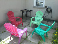 4 chairs colors Summer garden bbq