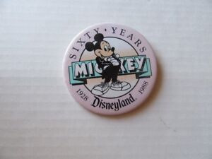 PIN BACK BUTTON - MICKEY MOUSE - VINTAGE