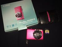 Pink Canon Camera + Memory Card & Case