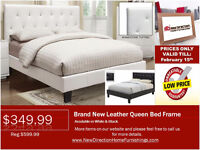 ◆Brand New Leather Qn/Db Bed Frame on Sale@New Direction Home